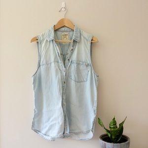 Pull&Bear | sleeveless chambray blouse, L